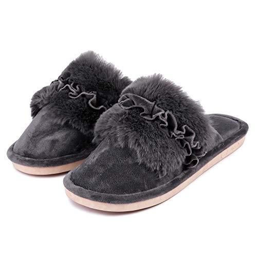 Brauch Women's Fur Floral Winter Slippers (38 Euro / 5 UK, Grey) (B07MMJNLDF) Amazon Price History, Amazon Price Tracker