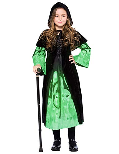 Kids Halloween Ghost Witch Hooded Costume Cloak Luminous