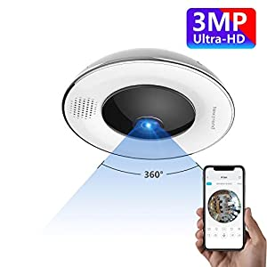 360° Panoramic Wireless WiFi IP Camera, NexTrend 3MP Ultra HD Home Security Camera with Fisheye Lens Night Vision Two…