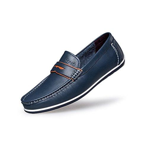 [ZRO Men's Modern Penny Loafer Drive Classic Slip-on BLUE US 10] (Dress Loafer Beef Roll)