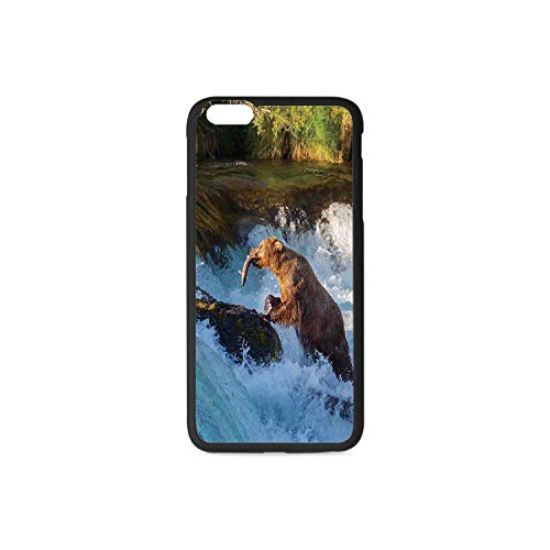 Waterfall Rubber Phone Case,Image of Large Bear by a Rock in Alaska Waterfall Wildlife in Earth Art Print Decorative Compatible with iPhone 6 / - Alaska Art Fine