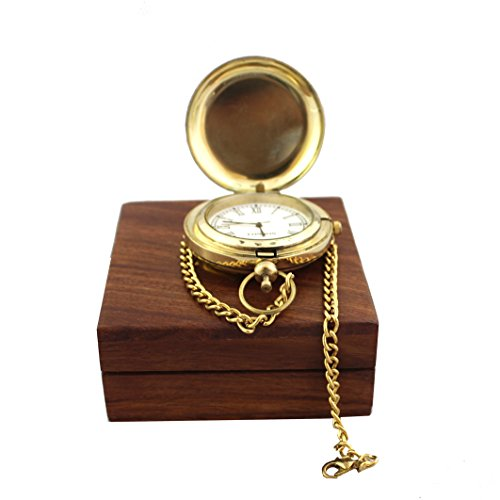 (Collectibles Buy Vintage Ship Pocket Watch Brass Chain With Wooden Box Nautical Maritime Royal Clocks Antique Items)