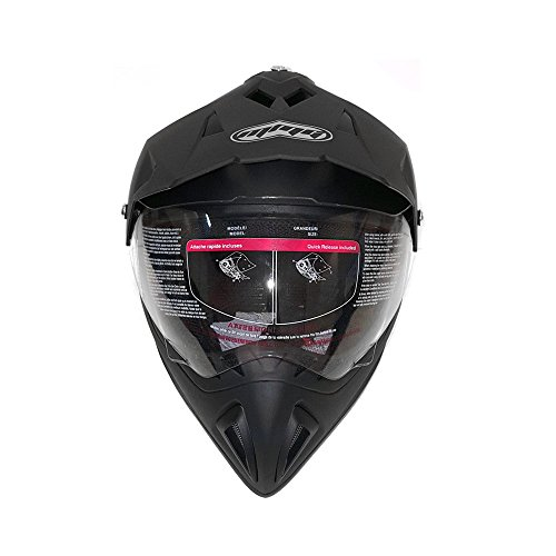 Helmet Dual Sport Off Road Motorcycle Dirt Bike ATV - FlipUp Visor - 27V (XXL, Matte Black) by MMG (Image #2)