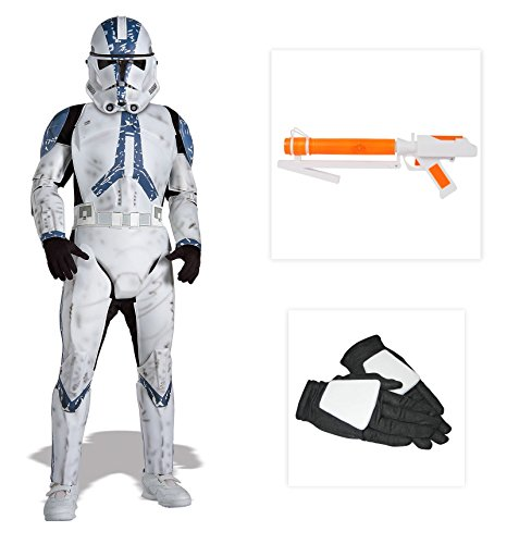 Stormtrooper Costumes Blaster (Star Wars Clone Trooper Deluxe Child Costume with Gloves and Blaster - Small)
