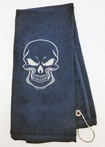 Mana Trading Custom Personalized Embroidered Golf Towel THE SKULL (Blue Embroidered Velour Golf Towel)