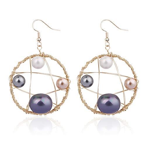 KissYan Handmade Pearl Dangle Drop Earrings Copper Wire Weaving Hollow Geometric Statement Earrings for Women Girls (04 - Geometric Designer Earrings