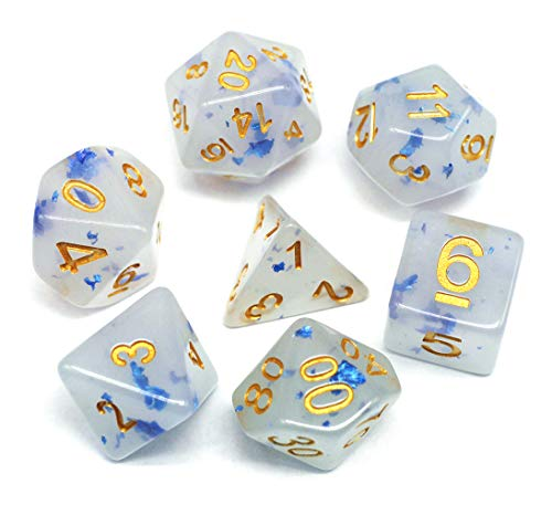 HD Dice-DND Polyhedral Dice Set RPG Jade Dice for Dungeons and Dragons D&D Pathfinder Role Playing Games Table Games White Gemstone Dice Mix Blue Petal ()