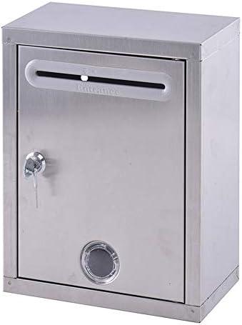 メールボッ 担保安全ドロップボックスキードロップボックス、ウォールはメールボックス、投票箱、寄付箱の提案ボックスのロック、メールボックスをマウント 大型 郵便受け (Color : Silver, Size : M)