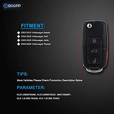 ECCPP 315MHz Uncut 4 Button Keyless Entry Remote Key Fob Replacement fit for Volkswagen Beetle Golf Jetta Passat HLO1J0959753AM HLO1J0959753DC NBG735868T (Pack of 1): Automotive