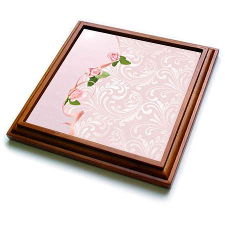 3dRose Beverly Turner Flora Design - Image of Pink Roses on Ribbon on Elegant Design - 8x8 Trivet with 6x6 ceramic tile - Framed Ribbon Pink