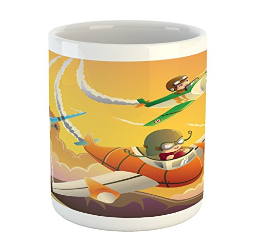 Lunarable Airplane Mug, Happy Kids in an Airplane Race Dreams Boys Activity Happiness Clipart, Printed Ceramic Coffee Mug Water Tea Drinks Cup, Apricot Orange Marigold