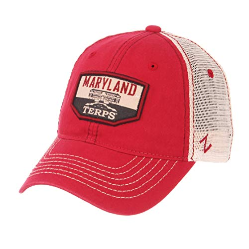 Zephyr NCAA Maryland Terrapins Men's Trademark Relaxed Cap, Adjustable, Washed Team/White