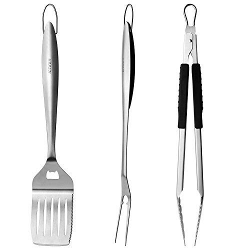 ICCKER BBQ Grill Tool Set - 3 Piece 18 inch Grilling Utensils Set Heavy Duty Stainless-Steel Spatula, Fork & Tongs - Premium Grilling Accessories for Barbecue (3 Piece Grill)