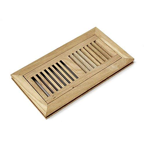 4x10 Red Oak Flush Mount Floor Register Vent Unfinished by WELLAND, Overall dimension is 12.375