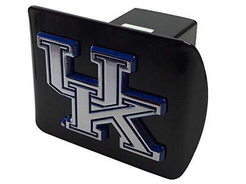 University of Kentucky METAL emblem (chrome with royal blue trim) on black METAL Hitch - Uk Metal Black
