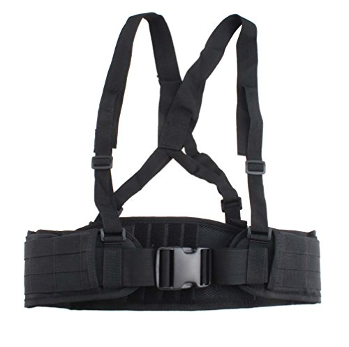 AGPtek Adjustable MOLLE Soft Padded Tactical Waist Belt with Suspender for Outdoor Duty