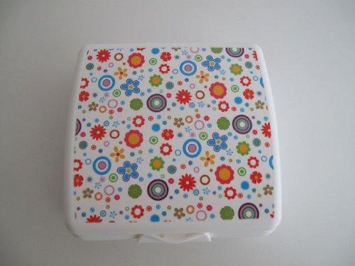 TUPPERWARE Sandwich-Box Brotbox Behälter Dose WeIß mit Blümchen Blumen Schule