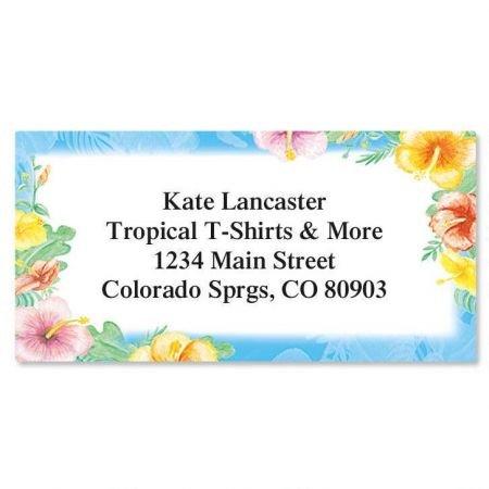 Hawaiian Floral Personalized Border Return Address labels- Set of 144 1-1/8