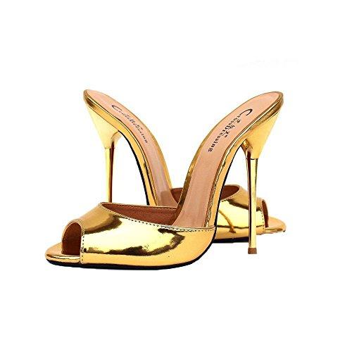 BFMEI La Sra. Fashion Casual Sandals & Slippers Artificial PU Sandalias De Tacón De Metal (40-48 Yardas) Gold