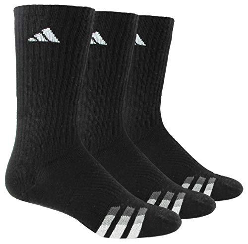adidas Men's Cushioned Crew Socks (3 Pair), BlackWhiteLight OnixGranite, Large, (Shoe Size 6 12)