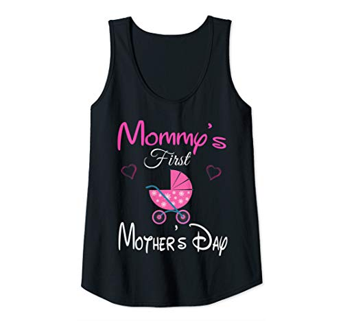 Womens Funny Mommy's first mother's day pink stroller & Heart Mom Tank Top