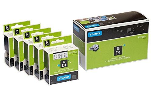 5 x Dymo D1 standard nastro per etichettatrice 53713 materiali (S0720930) 24 mm x 7 m? Nero su bianco