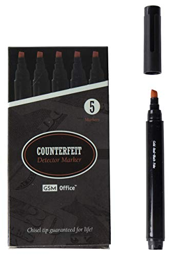 5 Currency (Counterfeit Money Bill Detector Pens, Markers - Detects Fake Currency - 5 Pack)