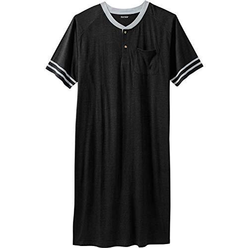 KingSize Men's Big & Tall Short-Sleeve Henley Nightshirt, Black Tall-L/X