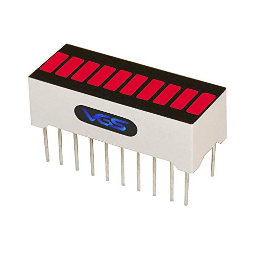 VG_S New 1pc 10 Segment LED Bar Graph Display Super Bright RED Color(10 x Super Bright Red) Single led bar Graph(DIY or Arduino)