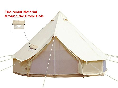 UNISTRENGH Cotton Canvas Bell Tent with Stove Jacket Hole for Family Camping,Glamping,Traveling (Beige, 3M/9.84ft)
