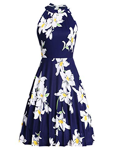 Ruiyige Halter Tops for Women,Silk Dress,80's Shirt,Floral-04,L