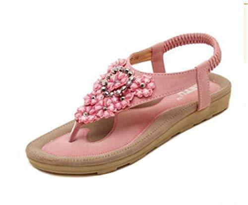 Flat Suede 2 Qugkop Bead Floral Wedges String amp; Shoes Pig Women Rome 39 Casual Femme Gladiator Soulier Sandals Binding Tip SpqVUMz