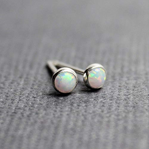 Tiny Opal Stud Earrings, Simulated, 3mm, Sterling Silver