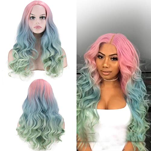 Pink Green Curly Wig Synthetic Hair NONE Lace Front Wigs Black Loose Curly Wigs Heavy Density Glueless Wigs for Women (a)