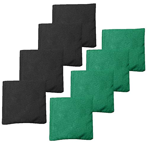 Weather Resistant Cornhole Bean Bags Set of 8 - Regulation Size & Weight - Green & Black