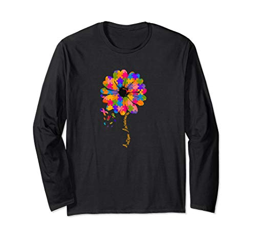 - AUTISM AWARENESS Long Sleeve Shirt Colorful Puzzle Pretty