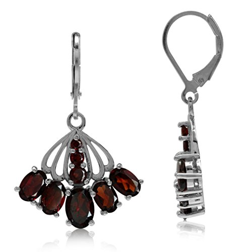 (6.94ct. Natural Garnet White Gold Plated 925 Sterling Silver Fan Shape Leverback Dangle Earrings)