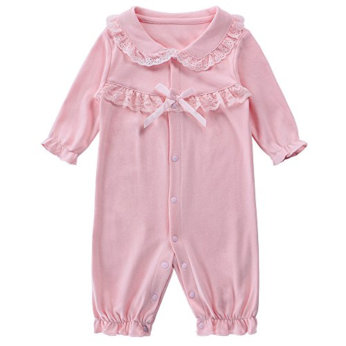 BHL Baby Girl Romper 0-9 Month Long Sleeve (3 Month, Pink Without Hat)