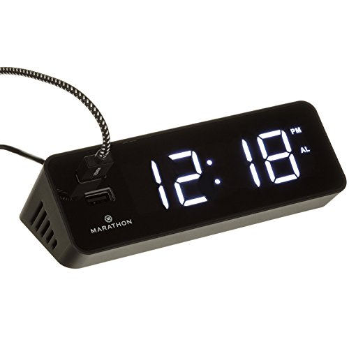 MARATHON CL030055BK LED Alarm Clock with Two Fast Charging, Front Facing USB Ports