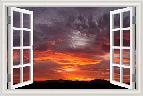 Wangxj Hd Landscape 3D Window View Stickers Vinyl Decal Wallpaper Cloud Blue -