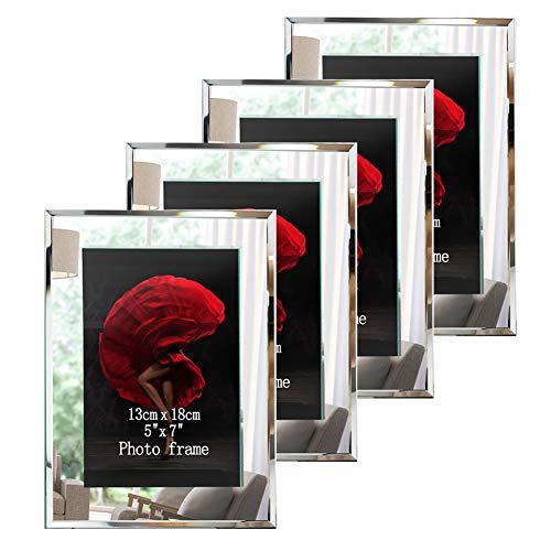 Dreamsyard Picture Frames 5x7 Glass 4 Pack Silver Mirrored Edge Desk Tabletop Standing Multi Photo Frame Bulk Set