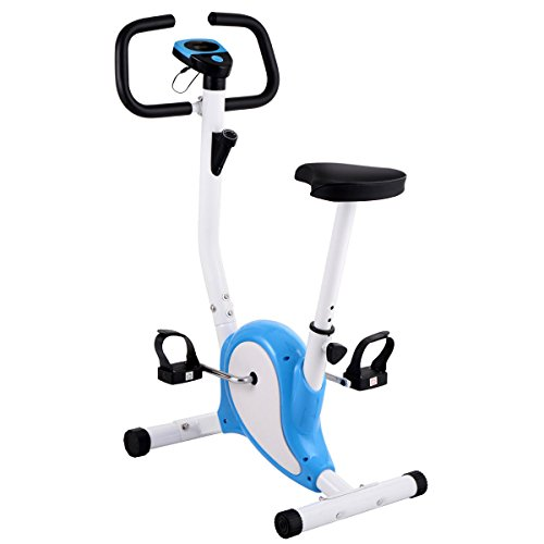 Blue and White, Upright Exercise Bike Magnetic Resistance Cardio Workout Stationary Cycle Indoor, Adjustable seat (Fireplace Outdoor Seating Ideas)