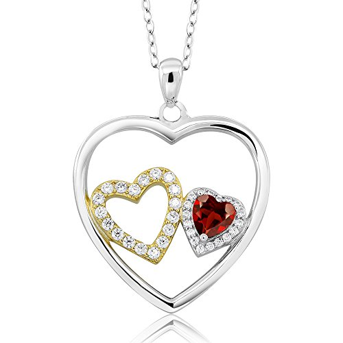 925 Sterling Silver Heart Shape Red Garnet Gemstone Birthstone Pendant Necklace (1.02 Cttw, With 18 inch Silver Chain)
