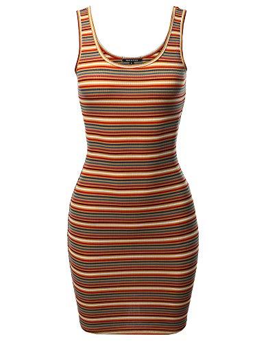 Awesome21 Stripe Print Scoop Neck Sleeveless Ribbed Body-Con Mini Dress Mustard ()