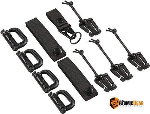 "The Atomic Bear Kit of 11 Attachments for 1"" Webbing Molle Bags, Tactical Backpack, Tactical Vest – 4 Grimlock Locking D-Ring Carabiner Clips – 4 Molle Elastic Strings – 2 ()"