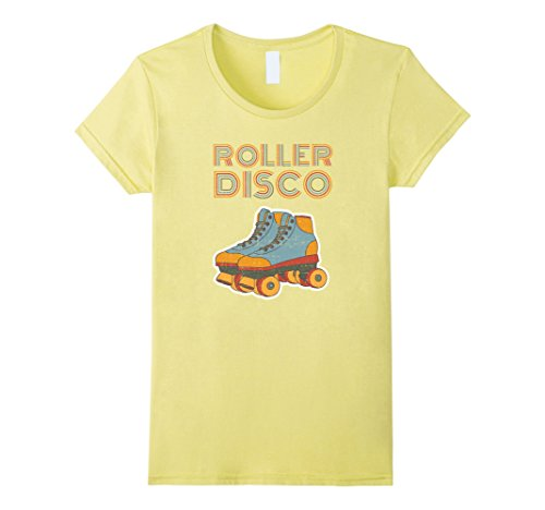 Womens Cool Vintage Roller Disco Retro 70s and 80s party T-shirt Small Lemon