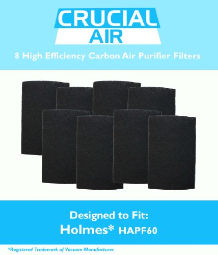 8 Holmes HAPF60 Air Purifier Carbon Filter, Fits Holmes Harmony, Bionaire and GE Air Purifiers, Part # HAPF60, HAPF60-U3 & HAPF60PDQ-U, by Think Crucial