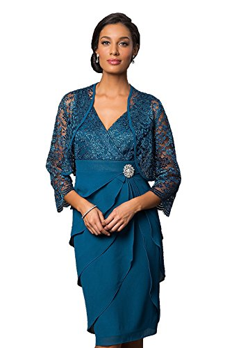 Love My Seamless Womens V-Neck Glitter Lace Formal Evening Mother Of The Bride Crepe Dress With Jacket (Large, Teal)