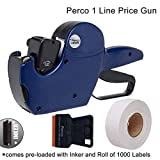 Perco 1 Line Price Gun - Includes 1 Line Pricing Gun, 1,000 White Labels, and Pre-Loaded Ink Roll