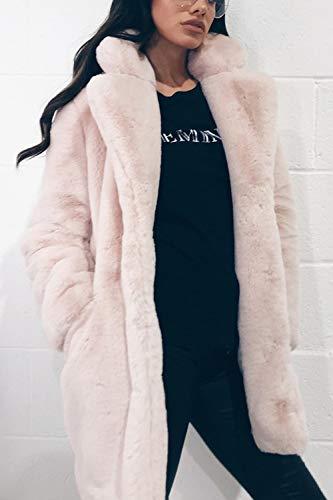 Front Diffus Fausse Fourrure Manteau Femmes Zilcremo En Xxl Et Rose Élégant Avec qTO1Hnw